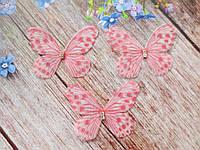 "Аппликация, ""Бабочка шифоновая"", двухслойная, цвет на фото, 50х40 мм, 1 шт."