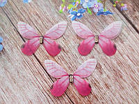"Аппликация, ""Бабочка шифоновая"", двухслойная, цвет на фото, 45х30 мм, 1 шт."