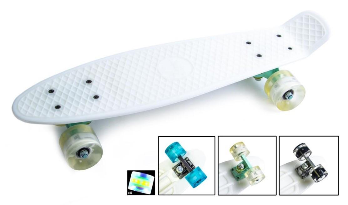 "Скейт скейтборд пенни борд 22"" светящиеся колеса белый"