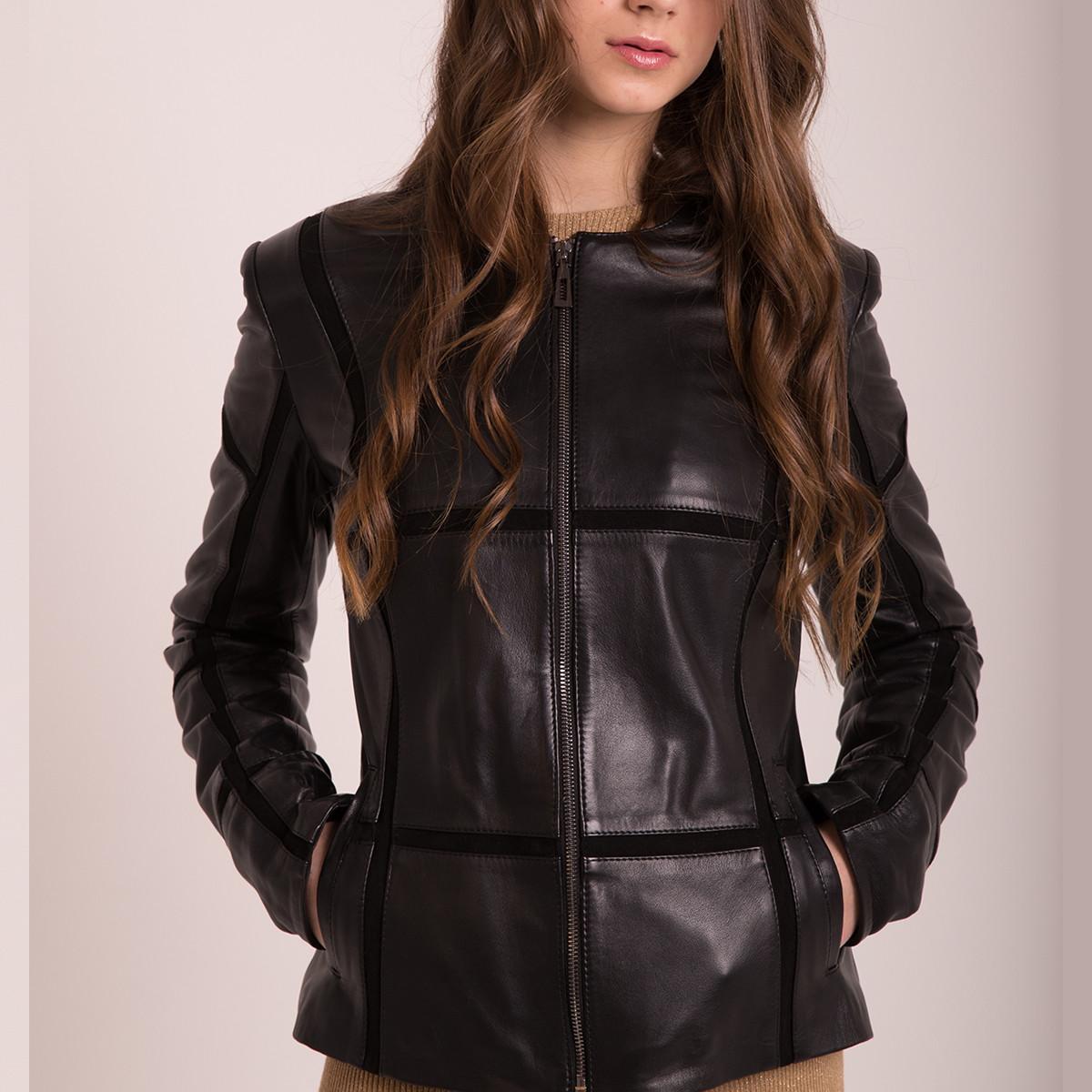 Кожаная куртка весна черная женская (Арт. AMI201)