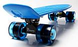 """Скейт скейтборд пенни борд 22"""" светящиеся колеса синий, фото 5"""
