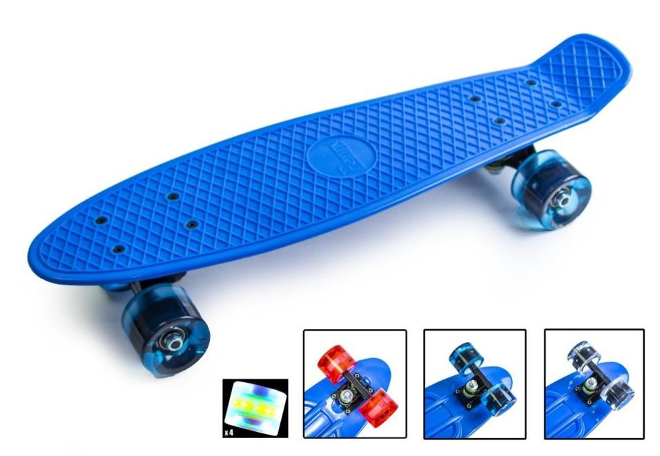 "Пенни борд скейт со светящимися колесами 22"" синий"