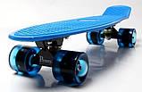 """Скейт скейтборд пенни борд 22"""" светящиеся колеса синий, фото 4"""