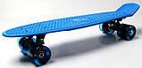 """Скейт скейтборд пенни борд 22"""" светящиеся колеса синий, фото 3"""
