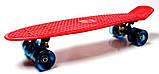 """Скейт скейтборд пенни борд 22"""" светящиеся колеса красный, фото 2"""