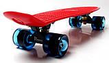 """Скейт скейтборд пенни борд 22"""" светящиеся колеса красный, фото 4"""