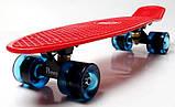 """Скейт скейтборд пенни борд 22"""" светящиеся колеса красный, фото 3"""