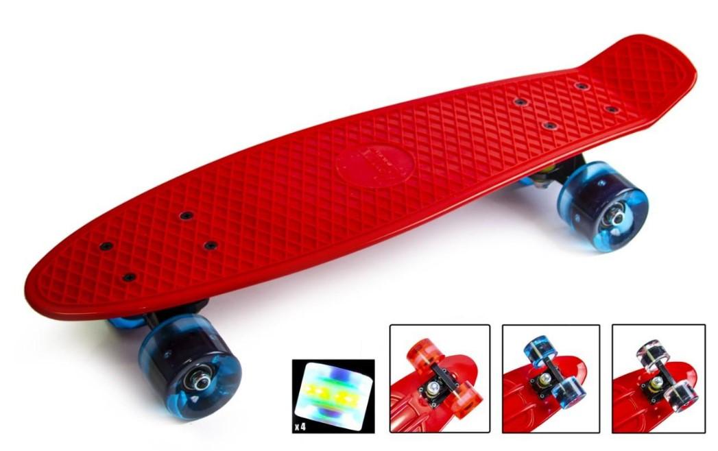 """Пенни борд скейт со светящимися колесами 22"""" красный"""