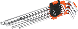 Набор шестигранных ключей 1,5-10мм с шаровым наконечником XL 9шт, TACTIX Китай [INSKLKLHX09000BXT0]
