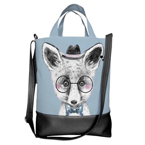 Городская сумка City Лисенок в очках и шляпе (SCB_LP005_BL)