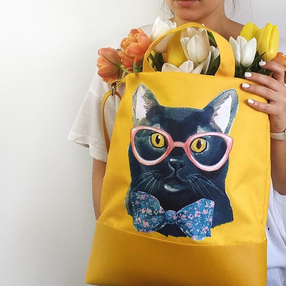 Городская сумка City Черный кот в очках и бабочке (SCB_LP014_ZHL)