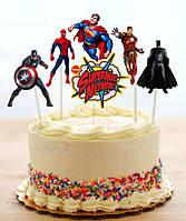 """Набір середні топпери в торт (8 см, 6шт./уп.) вирубка""""Супергерої/Месники/Марвел"""""""
