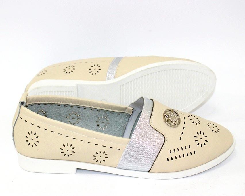 Женские летние туфли с перфорацией