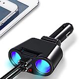 Автомобильное зарядное устройство 2 USB и 2 разветвителя прикуривателя индикацией напряжения и силы тока, фото 7