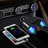 Автомобильное зарядное устройство 2 USB и 2 разветвителя прикуривателя индикацией напряжения и силы тока, фото 2