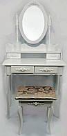 Столик косметический с табуретом туалетный Bonro B002W белый (МДФ 4 ящичка), фото 1