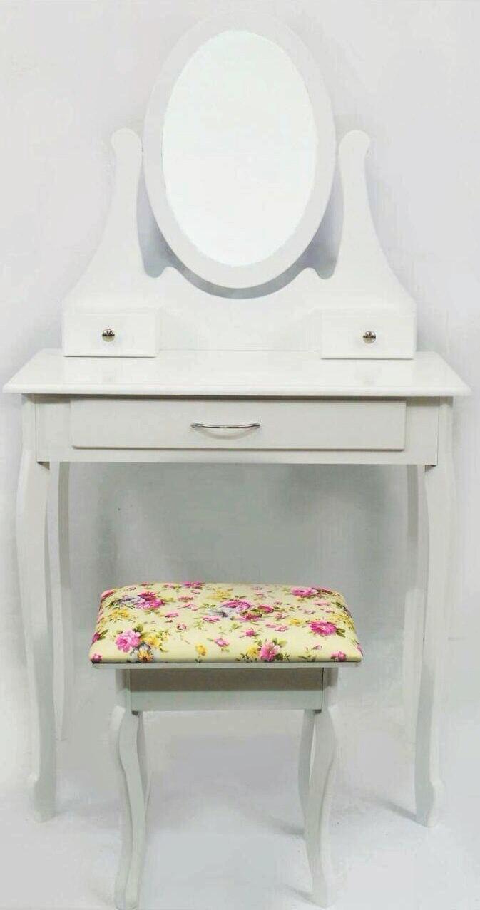 Столик косметический с табуретом туалетный Bonro B007W белый (МДФ 3 ящичка)