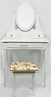 Столик косметический с табуретом туалетный Bonro B007W белый (МДФ 3 ящичка), фото 1