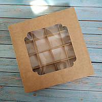 Коробка-шкатулка для конфет (185*185*30 мм.) Крафт С окном