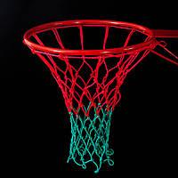 Сетка баскетбольная «СТАНДАРТ», шнур диаметром 4,5 мм. (стандартная) красно-зелёная для Республики Беларусь