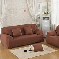 Чехол на двухместный диван HomyTex универсальный Бифлекс Коричневый