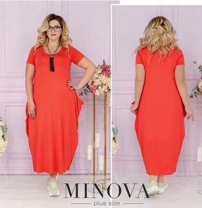 Легкое повседневное платье из вискозы цвета коралл Размеры: 58-60, 62-64, фото 2