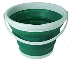 Відро складне силіконове 7106 на 9 л, темно-зелене