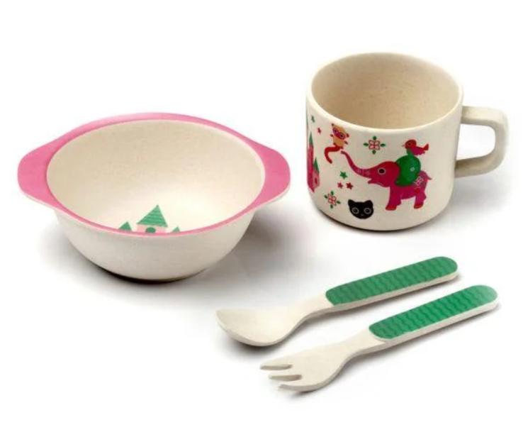 Набор детской бамбуковой посуды Stenson MH-2773-5 замок принцессы, 5 предметов
