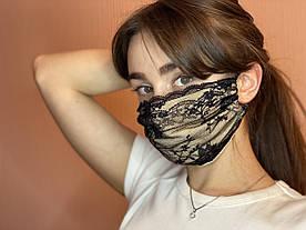 Тканевая хлопковая многоразовая маска  с черным кружевом