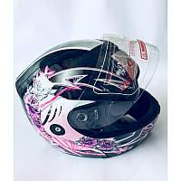 """Шлем """"трансформер"""",с очками, FGN, размер L(57,58), рисунок: цветки"""