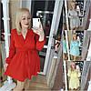 Р 42-48 Короткое платье с талией на резинке и юбкой клеш 21229