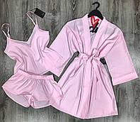 Нежно-розовый комплект домашней одежды халат и пижама(майка+шорты).