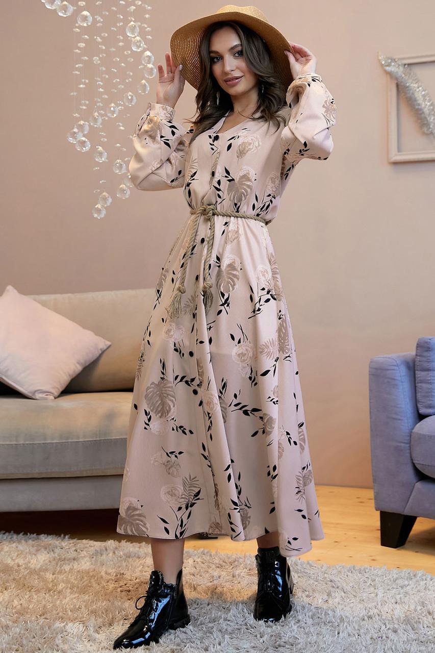 Романтическое длинное платье с пышной юбкой /бежевый с черными цветами, S-XL, SEV-1318.4025/