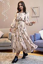 Романтическое длинное платье с пышной юбкой /бежевый с черными цветами, S-XL, SEV-1318.4025/, фото 3