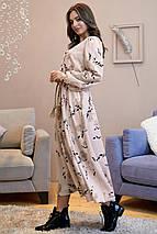 Романтическое длинное платье с пышной юбкой /бежевый с черными цветами, S-XL, SEV-1318.4025/, фото 2