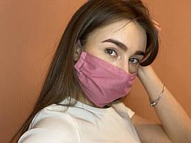 Тканевая хлопковая розовая многоразовая маска