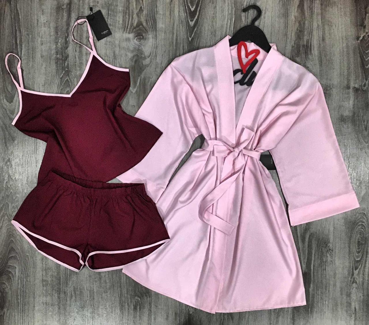 Модний набір одягу для дому халат+майка+шорти.