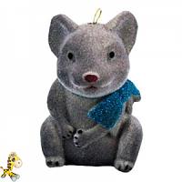 Новорічний декор мишка з бантиком 9 см