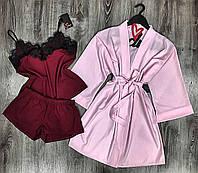 Стильний одяг для дому, комплект трійка халат, піжама( майка+шорти).