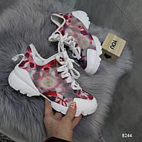 Женские красные текстильные легкие кроссовки с подошвой на каблуке Dio