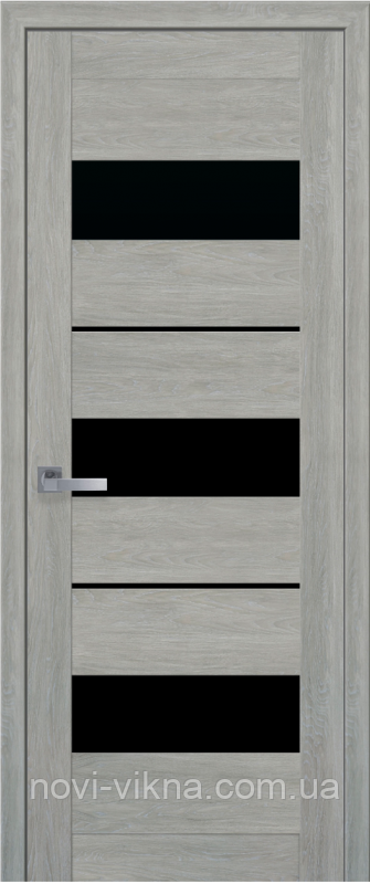Межкомнатное полотно Лилу Дуб дымчатый 600 мм со стеклом BLK (черное), ПВХ Ультра.
