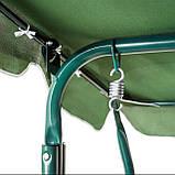 Садовые качели стальные прочные 3-х местные с навесом от солнца нагрузкой до 200 кг зеленая, фото 3