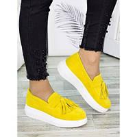 Женские туфли лоферы замша желтого цвета 7274-28, фото 1