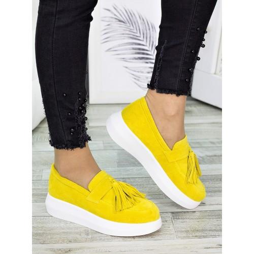 Женские туфли лоферы замша желтого цвета 7274-28