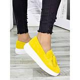 Женские туфли лоферы замша желтого цвета 7274-28, фото 4