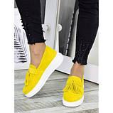 Женские туфли лоферы замша желтого цвета 7274-28, фото 3