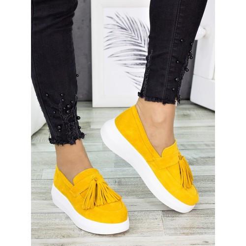 Жіночі туфлі лофери гірчичного кольору натуральна замша 7280-28