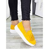 Жіночі туфлі лофери гірчичного кольору натуральна замша 7280-28, фото 2