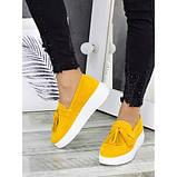 Жіночі туфлі лофери гірчичного кольору натуральна замша 7280-28, фото 3