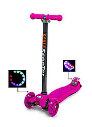 Детский самокат со светящиеся колеса MAXI Scale ScooTer Pink
